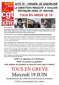 Pétition : Arrêt immédiat des procédures disciplinaires contre Cemil KAYGISIZ et Michaël LIBOUTON - Stop à la répression syndicale à la RATP